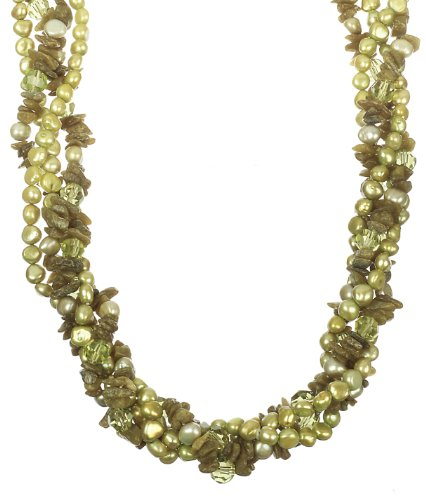 Green Fresh Water Pearl, Green Faceted Cut Glass Bead and Green Garnet Chips with Gold Tone Shortener Twister Necklace