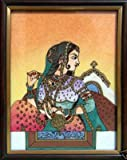 Traditional Elegant Lady Painting Made with Gem Stones