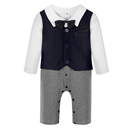 Baby Boy's Jumpsuit Romper 3Pcs Newborn Gentleman Formal Tuxedo Suit Outfit Set