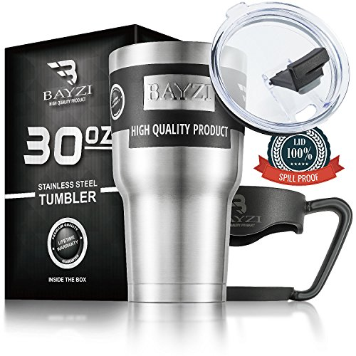 Tumbler slide open lid by BAYZI - 30-Ounce, BPA-Free, Stainless Steel, Double Walled Vacuum Insulation for Hot and Cold Drinks. 2 Free Bonuses - removable handle & Drinking Straws.