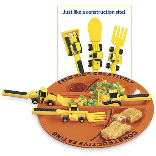 Constructive Eating 3-Piece Utensil and Matching Plate Set - 1