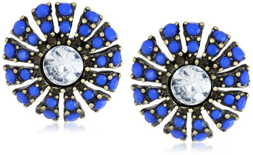 Royal Blue Cabochon Crystal Center Burnished Gold Tone Stud Earrings