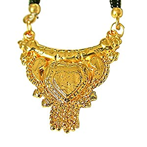 Surat Diamonds Gold Plated Mangalsutra Pendant with Black Kedia Beads Chain 30 IN for Women  MNG9  available at Amazon for Rs.99