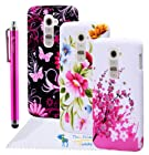 The Friendly Swede Basics - Bundle of 3 LG G2 Flower TPU Gel Cases + Stylus Pen + 2 Screen Protectors + Microfiber Cloth