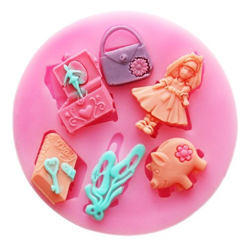 Jade Onlines Mini Girl Bag Silicone Fondant Sugar Pudding Diy Cake Cookie Mini Craft Mold