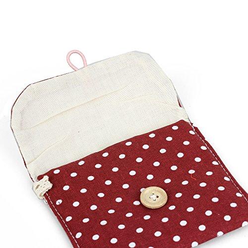 Donna borsa borsetta rosso pois chiusura a bottone porta for Porta assorbenti