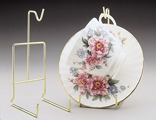 Tea Cup and Saucer Stand - Pack of Two Stands - Smooth Brass - Cup and Saucer