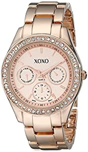 Xoxo women 39 s xo5502 rhinestone accented rose gold tone bracelet watch watches for Watches xoxo