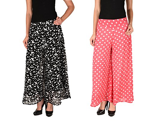 2DAY's Women Stylish Georgette Plazzo Butterfly Print and Pink Polka (Pack of 2)