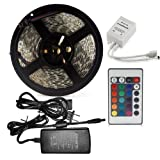 IT Mall 16.4 Ft Waterproof Color Changing SMD 5050 300LEDs Flexible RGB LED Lighting Strip + 24 Key Remote Controller + 12V 5A Power Supply for Wedding Christmas Party Holiday