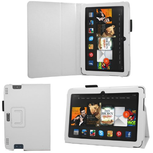 """Samrick - Amazon Kindle Fire Hdx 8.9"""" Inch - Executive Specially Designed Leather Book Folio Wallet Case With Exclusive Viewing Stand & Screen Protector/Foil/Film/Guard & Microfibre Cloth - White"""