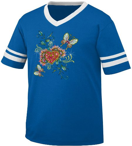 Hearts And Butterflies Mens Ringer T-Shirt, Old School Tattoo Style Design V-Neck Shirt, Medium, Royal/White