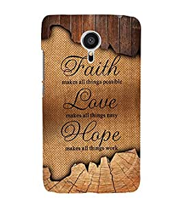 Faith Love Hope Cute Fashion 3D Hard Polycarbonate Designer Back Case Cover for Meizu MX5