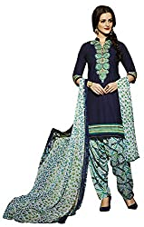 Go Traditional Women's Cotton Unstitched Dress Material (Blue)