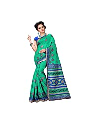 Green And Blue Spun Silk Party Wear Saree