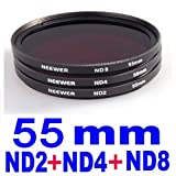 Neewer 55Mm 3 Piece Neutral Density Photography Filter Kit For Any Digital Slr Camera With A 72Mm Front Threaded Lens. Includes: Nd2, Nd4, & Nd8 Filters!