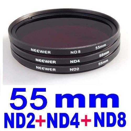 NEEWER® 55MM Exposure Balancing Neutral Density Filter Kit - 3 Pieces - Compatible with Nikon, Fujifilm, Kodak, Canon, Casio, Panasonic + MANY MORE!