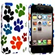 FOR APPLE IPHONE 4 4S SILICONE GEL SKIN CASE COVER+FREE STYLUS BY GSDSTYLEYOURMOBILE {TM} (Multi Dog Cat Paw Foot)