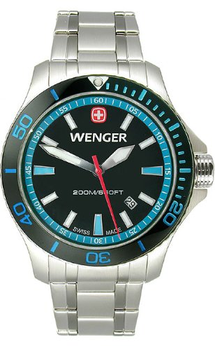 Wenger Wenger Mens Sea Force Dive Watch - Stainless Steel - Blue Accents - Bracelet