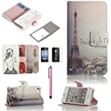 ATC Lumsing(TM) Art Series Vintage Retro Paris France Eiffel Tower & Girls PU Leather Wallet Type Magnet Design Flip Case Cover Credit Card Holder Pouch Case for IPhone 4 4G 4S with Screen Protector+ Stylus (Wallet case Eiffel Tower)
