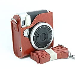 CAIUL PU Leather Instant Camera Case For Fujifilm Instax Mini 90 Neo Classic Instant Camera, Brown