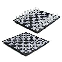 Melannco Glass Chess/Checkers, Black