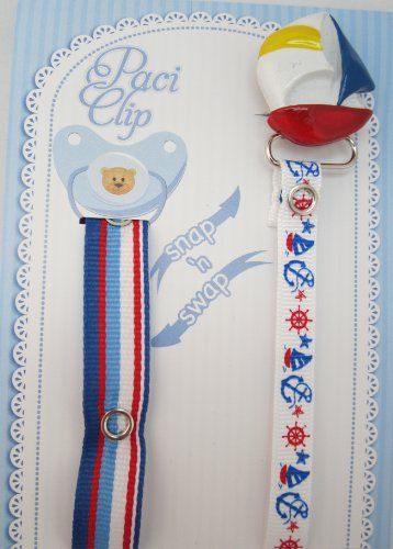 Blue Sail Boat Ribbon Pacifier Clip