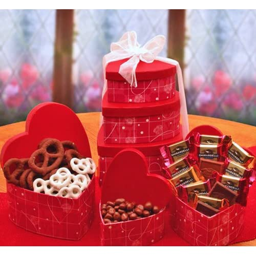A Love Affair with Chocolate Valentines Day Gourmet Candy Gift Tower
