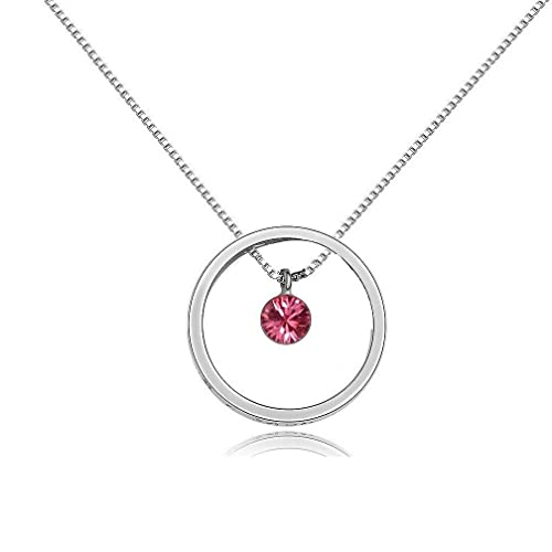 Swarovski Crystal I Love You to the Moon and Back Circle Pendant Necklace October Birthstone Pink