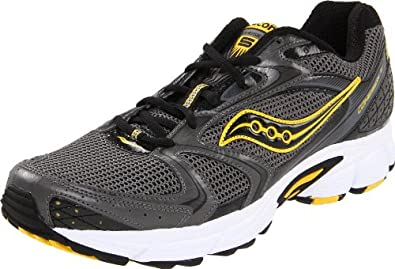 Saucony Men's Grid Cohesion 5 Running Shoe,Grey/Black/Yellow,11 M US