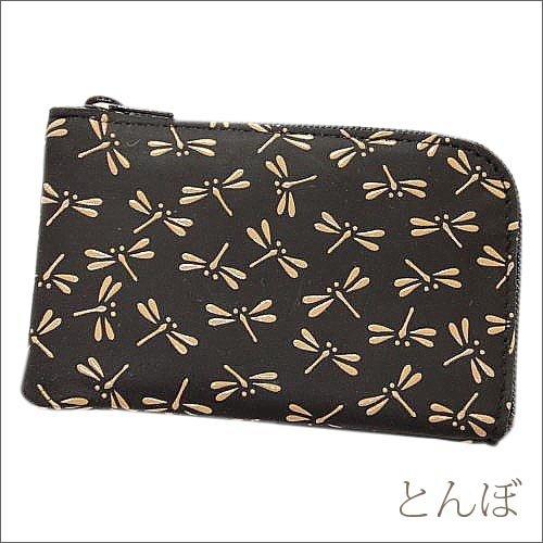 印傳屋 印伝 メンズ ( 男性用 ) 小銭入れ 財布 コインケース 1001 黒×白 和柄 ( 和風 / 和 / 和小物 / 和物 ) 日本製 本革 通販 プレゼントに。 (とんぼ)