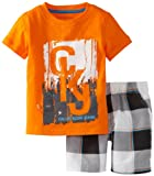 Calvin Klein Boys 2-7 Short Sleeve Tee With Plaided Short, Orange, 2T