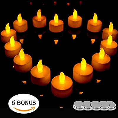 Hestia Goods LED Candles, Realistic Battery-Powered Flameless Candles, LED Tea Light Candles Indoor/Outdoor, Warm White, 24 Pack