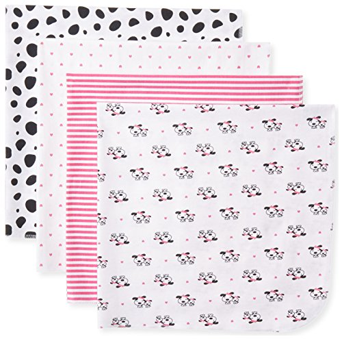 Gerber Baby-Girls Newborn 4 Pack Flannel Blanket Dalmation, Pink, One Size