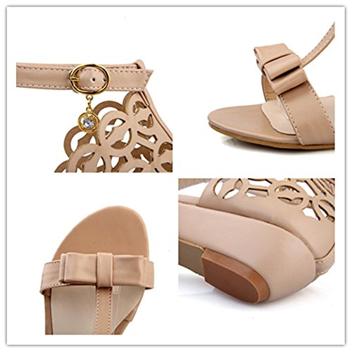 Rhinestone Fretwork Buckle Strap Hollow Out Bowknot Women Wedge Sandals Elegant Summer Shoes,Apricot,6.5 B(M) US