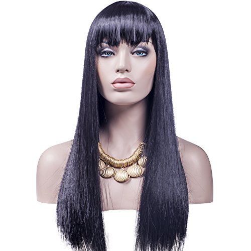 [Wig, Women's Long Straight Black Wig, 24 Inch Halloween Cosplay Synthetic Fiber Heat Resistant Wig] (Varys Halloween Costume)