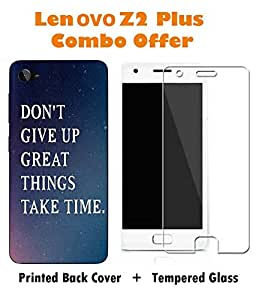 Lenovo Z2 Plus Slogan Printed Blue Hard Back Cover with Premium Tempered Glass Combo By Make My Print