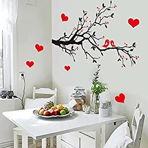 Qianxing removable cycle-usable flower and tree theme wallpaper wall sticker leisure style beautiful scenery Wall Decal for house home living room mural Decoration(red peach blossom)(85*60) by Qianxing
