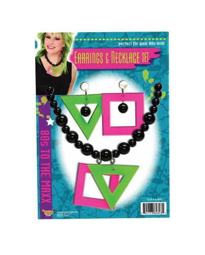 80s Neon Earrings and Necklace Costume Accessory Kit