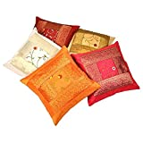 Ufc Mart Banarasi Brocade Work Cushion Cover 5 Pc. Set, Color: Multi-Color, #Ufc00450