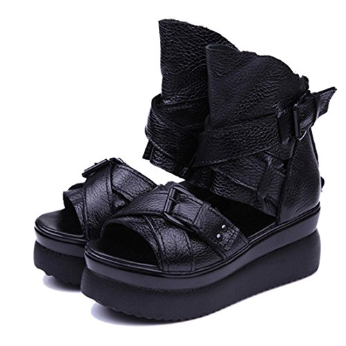 jeansian Moda Donna Piattaforma Scarpe Scarpe Sandali Romani Sandal Shoes WSA019 Black 36