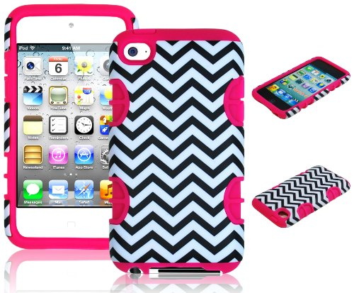 Bastex Hybrid Hard Case For Apple Ipod Touch 4, 4Th Generation - Hot Pink Silicone With Black & White Chevron Pattern front-464795