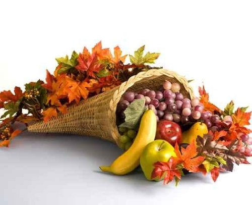 A Wiker Corucopia Filled  Fruits and Autumn Leaves
