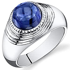 Revoni Mens 6.50 Carats Round Cabochon Blue Sapphire Ring In Sterling Silver With Rhodium Finish Size T,