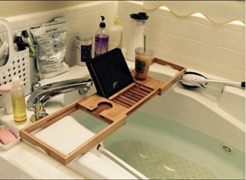 Bath Dreams Bamboo Bathtub Caddy Tray with Extending Sides