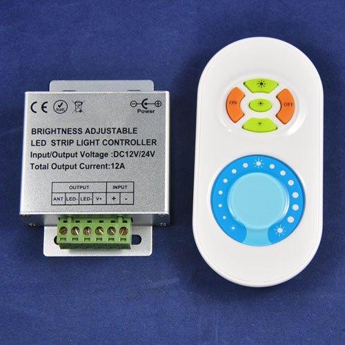 Dc12V-24V 2 Circuits 12A 433Mhz Brightness Adjustable Led Dimmer Single Color Rf Led Remote Controllerkingneonlux