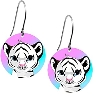 Baby White Tiger Earrings