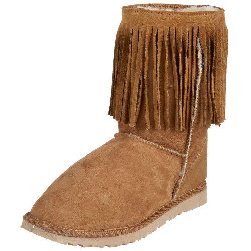 Koolaburra Unisex Single Fringe Short Boot,Chestnut,Men's 5 M/Women's 6 M