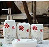 Bathroom Accessory Sets - Red Lotus garden flowers ceramic bathroom set, bathroom family of four, married wedding gift