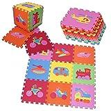 PRINZBERT Fahrzeuge Puzzlematte Spielmatte Spielteppich Kinderteppich Schaumstoffmatte Matte 64-tlg.